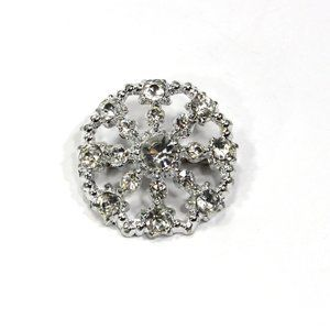 Cut Out Rhinestone Brooch, Round with Large Center
